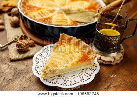 Beautiful fresh organic pear tart