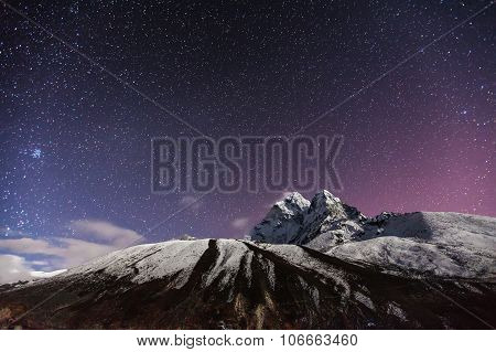 Himalaya Mountain With Star In Night Time