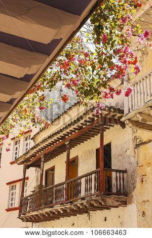 Flowery Balcony In A Colonial House