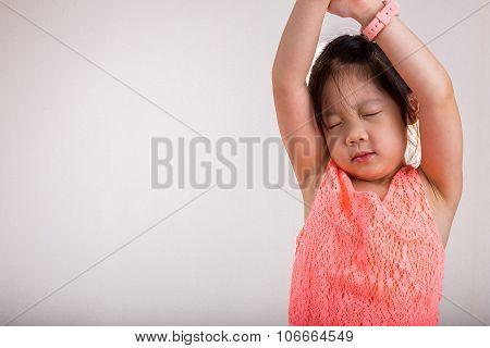Little Girl Stretching / Little Girl Stretching In Morning Background