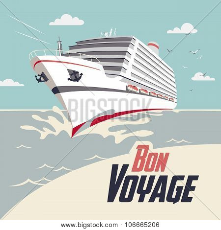 Cruise Ship Bon Voyage Illustration