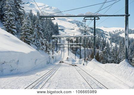 View to the Wengernalpbahn railway tracks in Grindelwald, Switzerland.