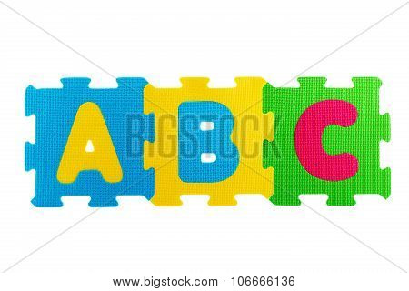 Alphabet Rubber Mat. Abc Written On The Rubber Mats Isolated On White