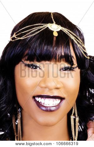 Tight Smiling Portrait Attractive African American Woman
