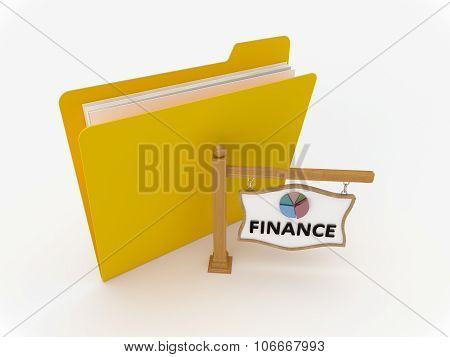 Yellow Folder With Wooden Signpost Finance