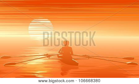 Illustration Of Sunset With Rowers At Sunset.