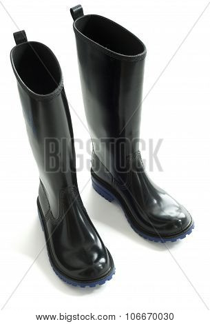 Black rubber boots blue outsole