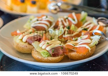Lox On Mini Bagels With Cream Cheese Spread