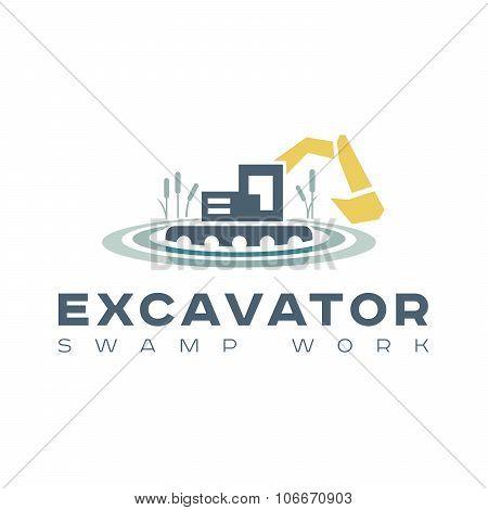 Logo amphibious excavator for wetland work Kamyshin vector style flat trend