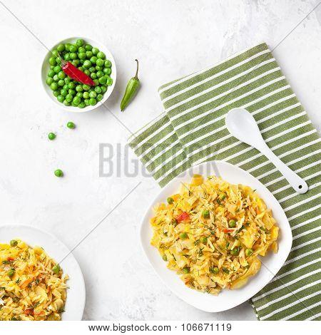 Indian Vegetarian Food In Restaurant