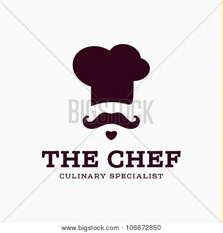 chef cook logo icon toque, chefs hat vector trend flat style brand mustache beard styling