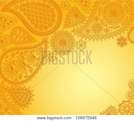 Floral paisley background with indian ornament and place for your text.