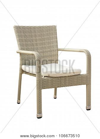 Rattan Weaved Stylized Chair Isolated On White.