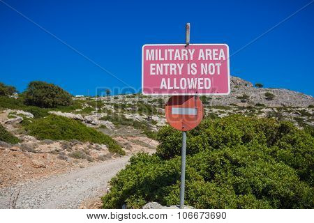 Military Area No Entry Sign