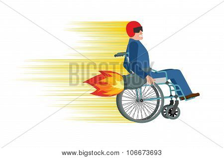 Wheelchair With Turbo Engine. Disabled Fast Rides. Man In Chair In Moto Helmet. Turbine Fire