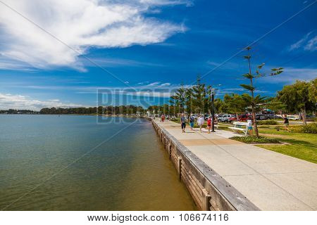 BRISBANE, AUS - NOV 1 2015: Woterfront promenade at a Woody Point, Redcliffe, Queensland, Australia. Woody Point is a popular, recently renovated, residential suburb of Brisbane.