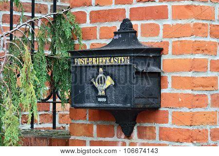 Old German Mailbox.  Kaliningrad (until 1946 Konigsberg), Russia