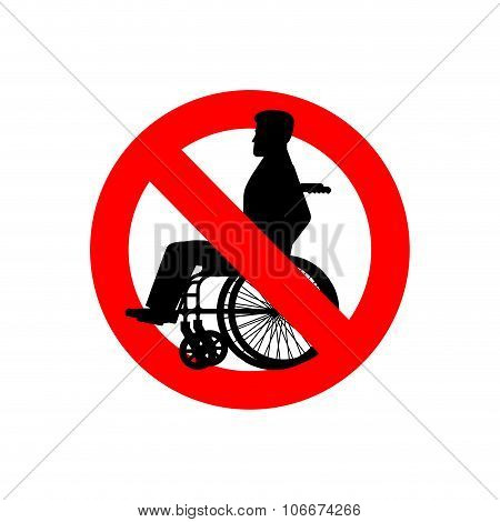 Stop Disabled. Prohibited Person On Wheelchair. Ban For People With Disabilities. Red Forbidding Sig