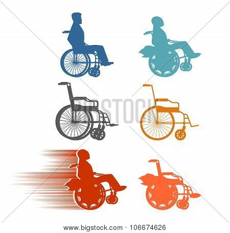 Set Invalid. Collection Of Silhouettes Of Various Disabilities And Wheelchairs. Normal And High-spee