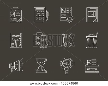 Personnel search white flat line vector icons set