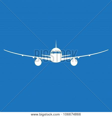 Airplane icon. Plane silhouette isolated on blue background. Vector illustration.