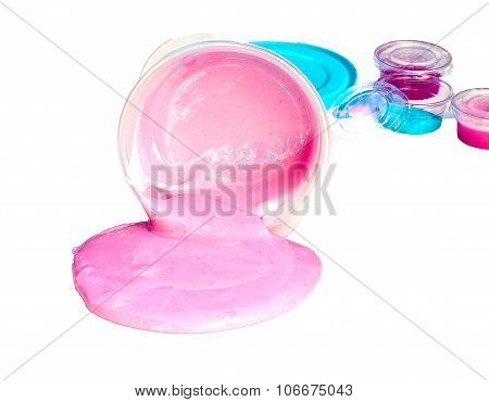 Slime Spill Out From Plastic Box Isolated On White Background.