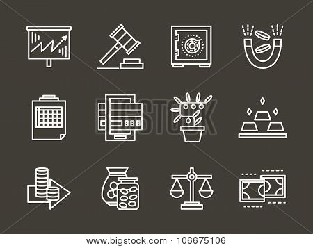 Finance strategy white simple line vector icons