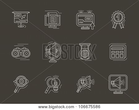 Analytic search information white line vector icon