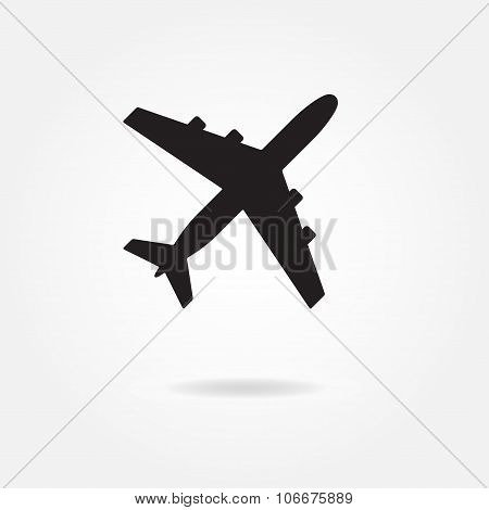 Aircraft icon. Airplane silhouette. Vector illustration.