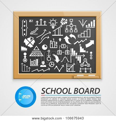 School wooden board with icons.
