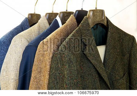 Assorted Mens Jackets On Hangers
