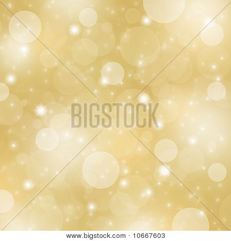 Abstract gold bokeh and sparkling star background