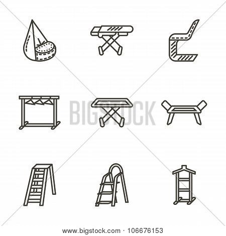 Housekeeping black line vector icons