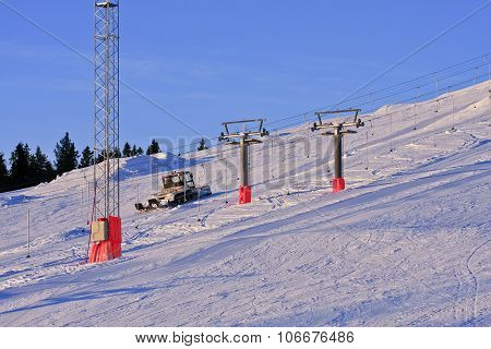Preparing the downhill slope in the morning.