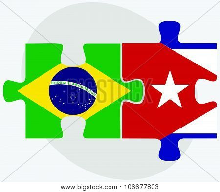 Brazil And Cuba Flags