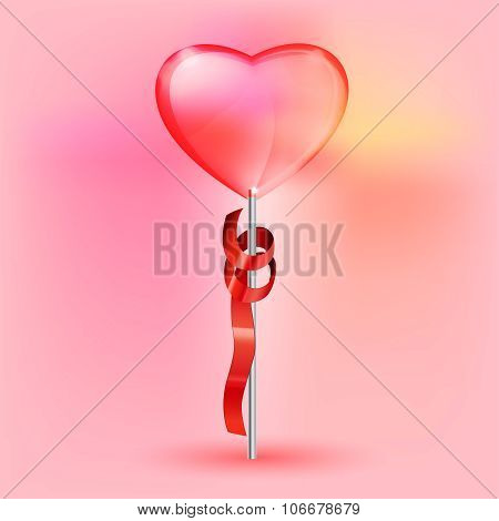 transparent heart lollypop
