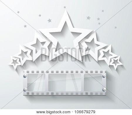 Cinema Banner With White Paper Stars And Film Tape. Vector Cinema Background.