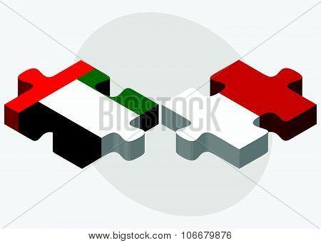 United Arab Emirates And Monaco Flags