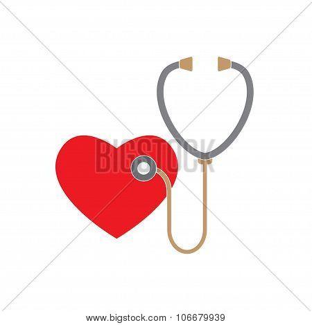 Stethoscope and heart icon isolated on white background. Medicine design element. Cardiology symbol.