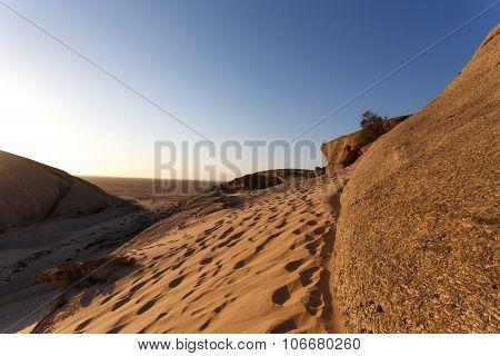 Rock Formation In Namib Desert In Sunset, Landscape