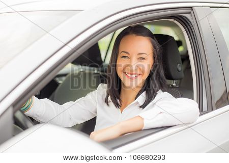 Woman sitting in the car