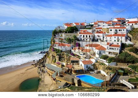Azenhas Do Mar, A Little Fishermen Village On Atlantic Coast Near Cabo Da Roca, Portugal