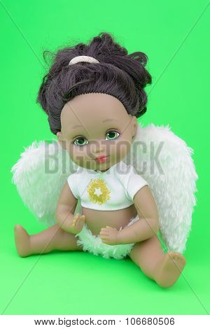 Black Skin Doll Wearing Angel Suit And Wings, Girl