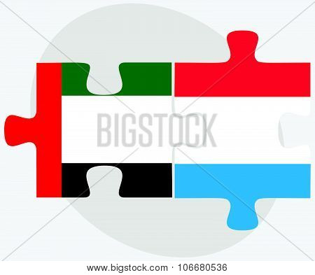United Arab Emirates And Luxembourg Flags