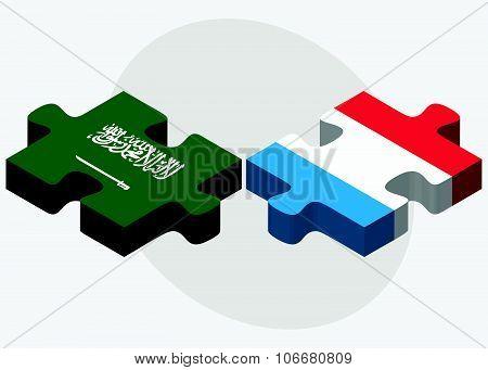 Saudi Arabia And Luxembourg Flags