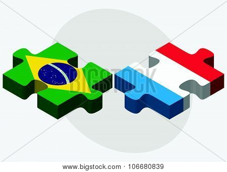 Brazil And Luxembourg Flags