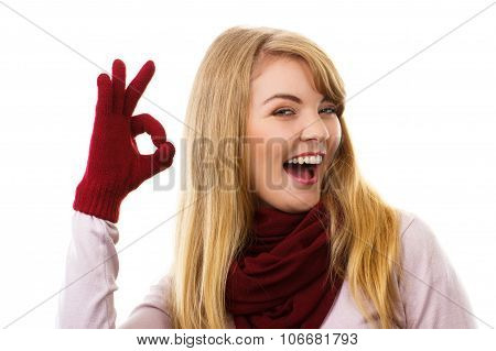 Happy Woman In Woolen Gloves Showing Sign Ok, Positive Emotions