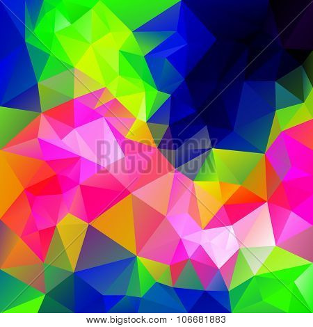 Vector Polygonal Background With Irregular Tessellations Pattern - Triangular Design In Infra Neon C