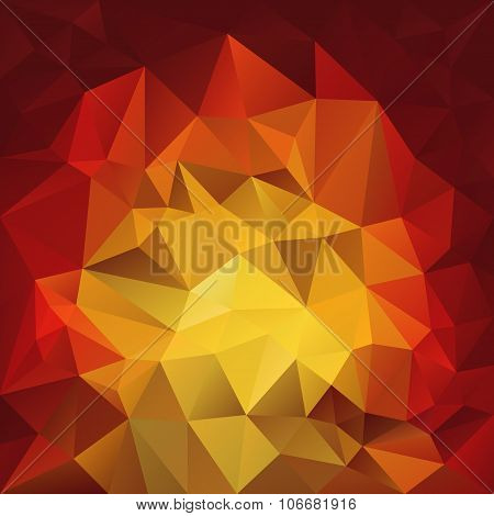 Vector Polygonal Background With Irregular Tessellations Pattern - Triangular Design In Fire