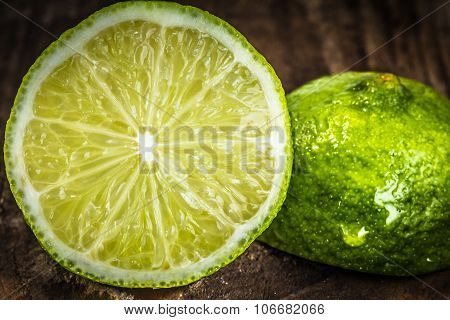 Lime On An Old Wooden Table